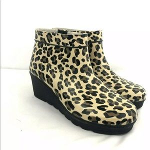 Sperry Topsider Rubber Rain Wedge Booties Size 8